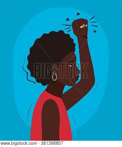 Black Woman Cartoon With Afro And Fist Up In Side View Design, Manifestation Protest And Demonstrati