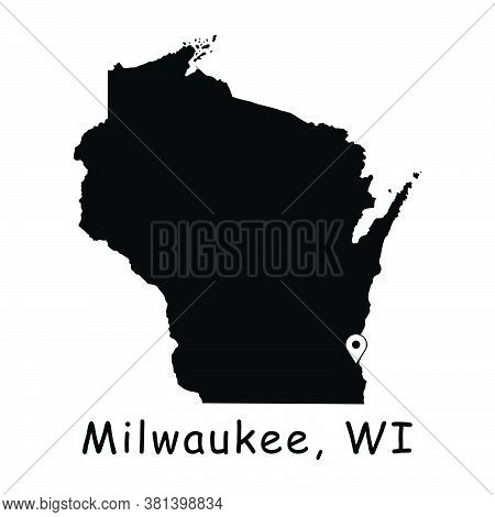 Milwaukee On Wisconsin State Map. Detailed Wi State Map With Location Pin On Milwaukee City. Black S