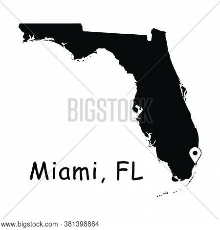 Miami On Florida State Map. Detailed Fl State Map With Location Pin On Miami City. Black Silhouette