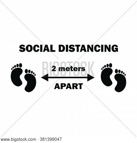 Social Distancing Two Footprints 2m Apart. Two Meters Apart Social Distancing Preventive Measures Fe