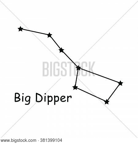 Big Dipper Constellation Stars Vector Icon Pictogram With Description Text. Artwork Depicting The Pl