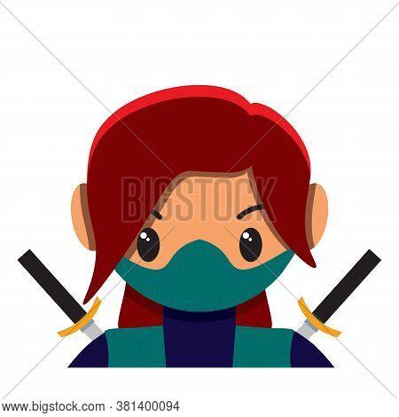 Isolated Cute Female Ninja Combat Colorful -vector