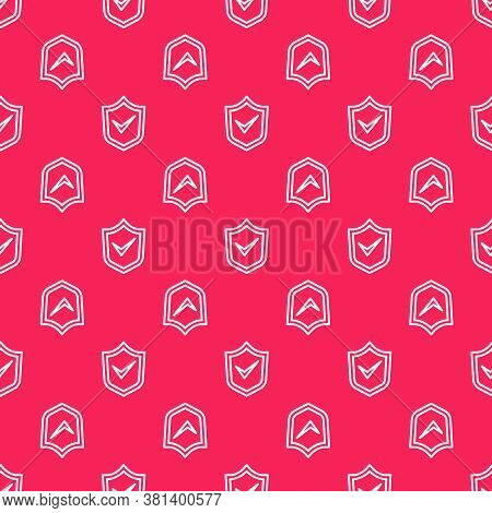 White Line Shield With Check Mark Icon Isolated Seamless Pattern On Red Background. Security, Safety