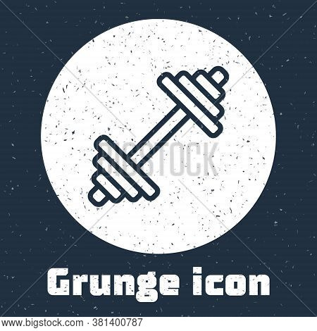 Grunge Line Dumbbell Icon Isolated On Grey Background. Muscle Lifting Icon, Fitness Barbell, Gym, Sp
