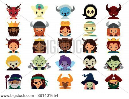 Isolated Cute Animated Fantasy Set Colorful- Vector