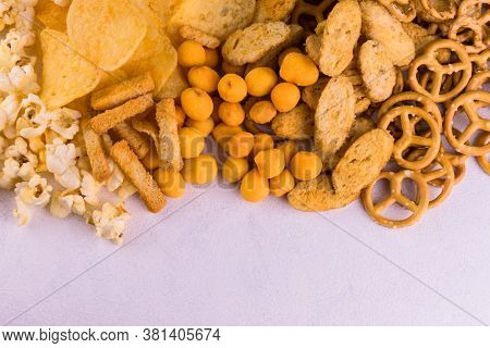 Junk Food. A Lot Of Junk Food On A White Background. Copy Space.