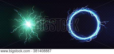 Electric Ball, Round Lightning Frame, Blue Thunderbolt Circle Border, Magic Portal, Energy Strike. G