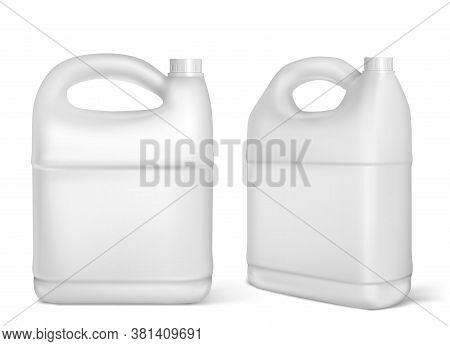 Plastic Canisters, White Jerrycan Bottles Isolated On White Background. Engine Oil, Car Lubricant Or