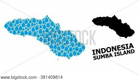 Vector Mosaic And Solid Map Of Sumba Island. Map Of Sumba Island Vector Mosaic For Pure Water Ads. M