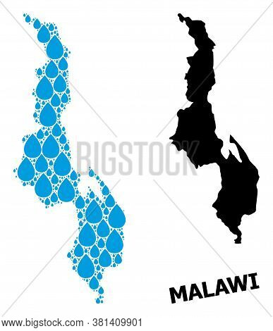 Vector Mosaic And Solid Map Of Malawi. Map Of Malawi Vector Mosaic For Clean Water Ads. Map Of Malaw
