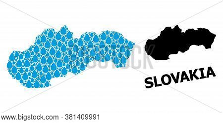 Vector Mosaic And Solid Map Of Slovakia. Map Of Slovakia Vector Mosaic For Drinking Water Ads. Map O