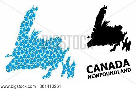 Vector Mosaic And Solid Map Of Newfoundland Island. Map Of Newfoundland Island Vector Mosaic For Pur