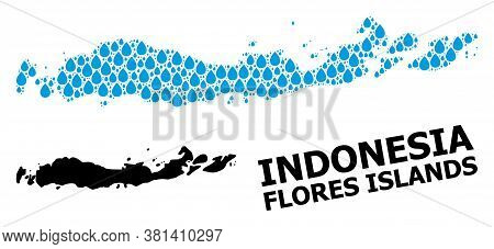 Vector Mosaic And Solid Map Of Indonesia - Flores Islands. Map Of Indonesia - Flores Islands Vector