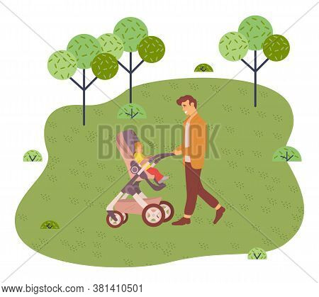 Young Father Walks With Baby In Park Or Square. Dad Rolls The Baby In A Stroller. Walk Out Of Town T