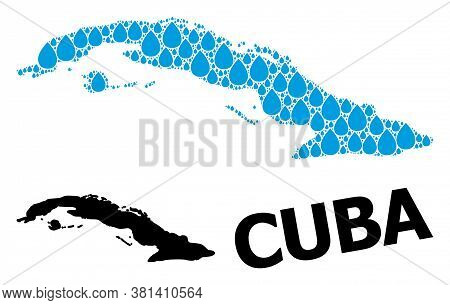 Vector Mosaic And Solid Map Of Cuba. Map Of Cuba Vector Mosaic For Drinking Water Ads. Map Of Cuba I
