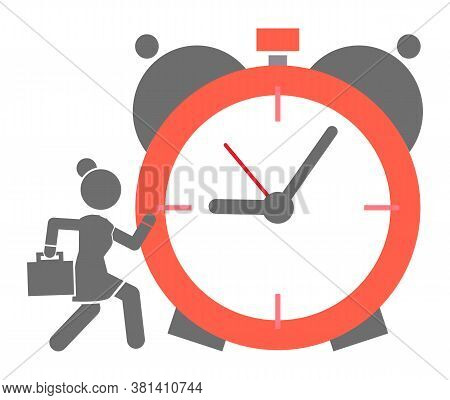 Big Alarm Clock Icon With Running Business Woman. Hurry Up Or Time Running Out Concept. Business Lad