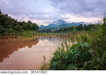 River Mekong In Luang Prabang, Laos, Jungle Landscape