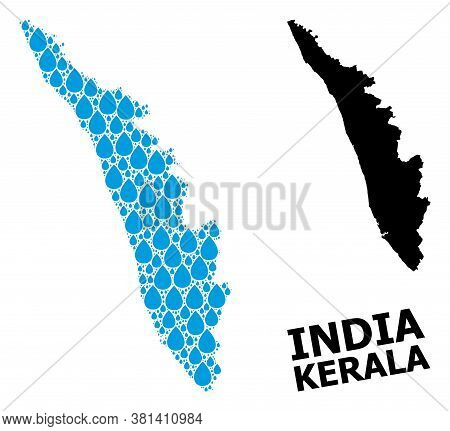 Vector Mosaic And Solid Map Of Kerala State. Map Of Kerala State Vector Mosaic For Pure Water Ads. M