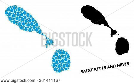 Vector Mosaic And Solid Map Of Saint Kitts And Nevis. Map Of Saint Kitts And Nevis Vector Mosaic For