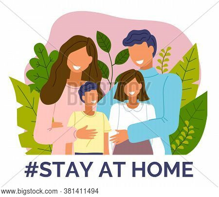 Stay At Home Concept. Happy Family At Leaves Background. Mother, Father, Boy, Girl Keep Rules Of Qua