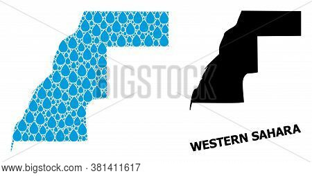 Vector Mosaic And Solid Map Of Western Sahara. Map Of Western Sahara Vector Mosaic For Clean Water A