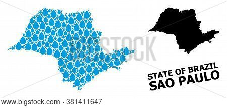 Vector Mosaic And Solid Map Of Sao Paulo State. Map Of Sao Paulo State Vector Mosaic For Pure Water
