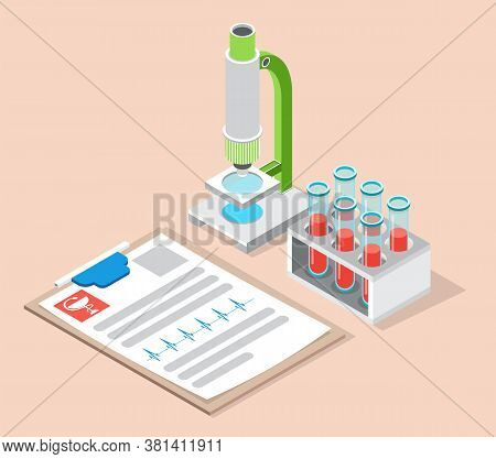 Laboratory Equipment. Microscope And Flasks With Test Tubes In A Container. Analysis In A Medical La
