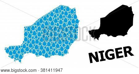 Vector Mosaic And Solid Map Of Niger. Map Of Niger Vector Mosaic For Clean Water Ads. Map Of Niger I