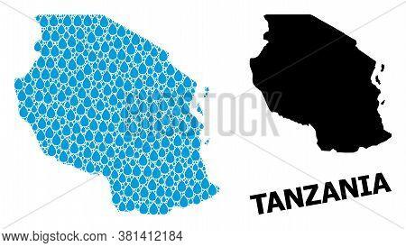 Vector Mosaic And Solid Map Of Tanzania. Map Of Tanzania Vector Mosaic For Pure Water Ads. Map Of Ta