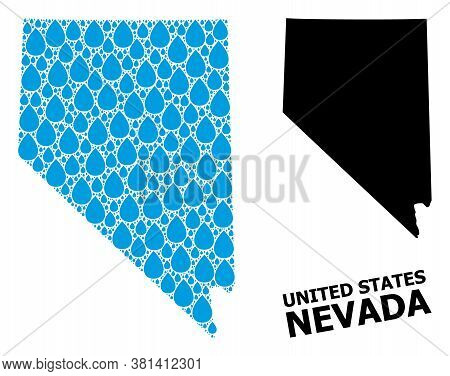 Vector Mosaic And Solid Map Of Nevada State. Map Of Nevada State Vector Mosaic For Drinking Water Ad