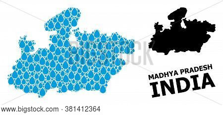 Vector Mosaic And Solid Map Of Madhya Pradesh State. Map Of Madhya Pradesh State Vector Mosaic For C