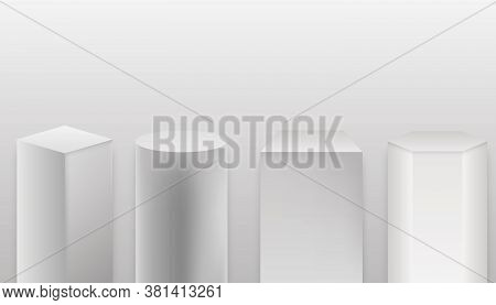 Museum Stage. Realistic Cubes Podium, 3d Exhibit Displays. Empty Geometrical Pillars For Exhibition