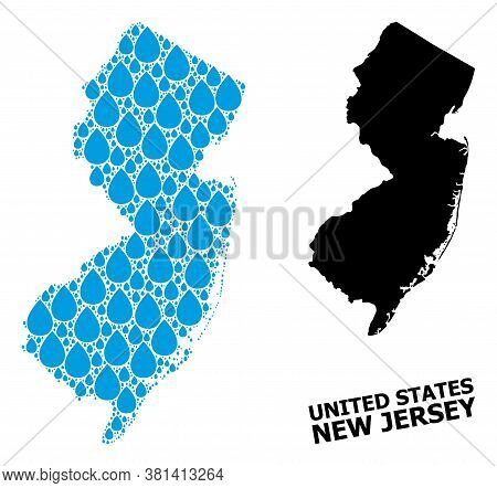 Vector Mosaic And Solid Map Of New Jersey State. Map Of New Jersey State Vector Mosaic For Drinking