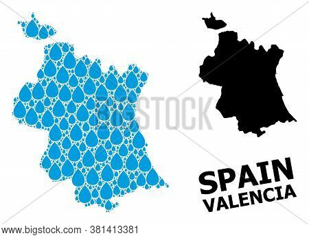 Vector Mosaic And Solid Map Of Valencia Province. Map Of Valencia Province Vector Mosaic For Clean W