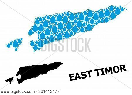 Vector Mosaic And Solid Map Of East Timor. Map Of East Timor Vector Mosaic For Drinking Water Ads. M
