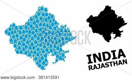 Vector Mosaic And Solid Map Of Rajasthan State. Map Of Rajasthan State Vector Mosaic For Drinking Wa