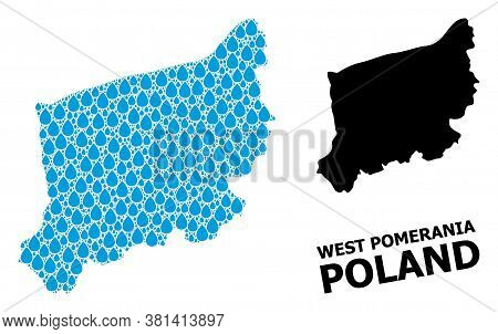 Vector Mosaic And Solid Map Of West Pomerania Province. Map Of West Pomerania Province Vector Mosaic
