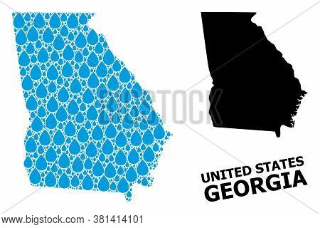 Vector Mosaic And Solid Map Of Georgia State. Map Of Georgia State Vector Mosaic For Drinking Water