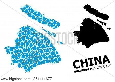 Vector Mosaic And Solid Map Of Shanghai Municipality. Map Of Shanghai Municipality Vector Mosaic For