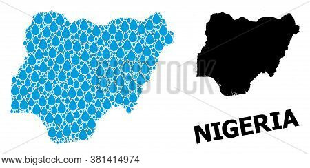 Vector Mosaic And Solid Map Of Nigeria. Map Of Nigeria Vector Mosaic For Clean Water Ads. Map Of Nig