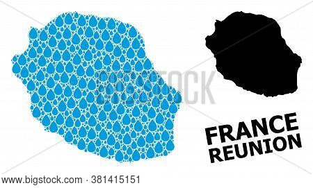 Vector Mosaic And Solid Map Of Reunion Island. Map Of Reunion Island Vector Mosaic For Drinking Wate
