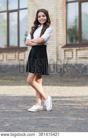 Style Approved By School. Happy Kid Wear Uniform Outdoors. School Style. Schoolwear. Fashion Dress C