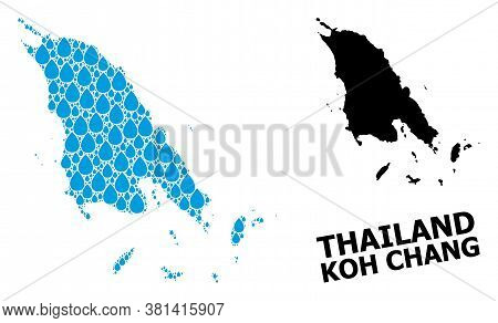Vector Mosaic And Solid Map Of Koh Chang. Map Of Koh Chang Vector Mosaic For Clean Water Ads. Map Of