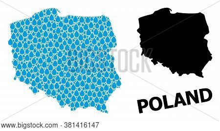 Vector Mosaic And Solid Map Of Poland. Map Of Poland Vector Mosaic For Drinking Water Ads. Map Of Po