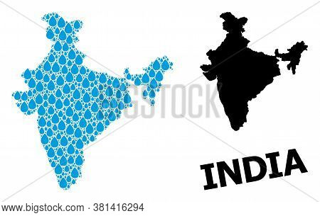 Vector Mosaic And Solid Map Of India. Map Of India Vector Mosaic For Drinking Water Ads. Map Of Indi