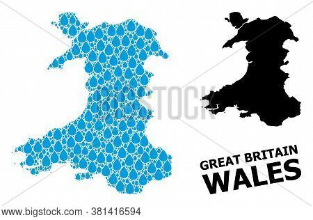 Vector Mosaic And Solid Map Of Wales. Map Of Wales Vector Mosaic For Drinking Water Ads. Map Of Wale