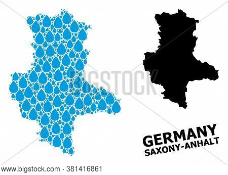 Vector Mosaic And Solid Map Of Saxony-anhalt State. Map Of Saxony-anhalt State Vector Mosaic For Dri
