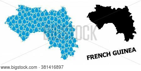 Vector Mosaic And Solid Map Of French Guinea. Map Of French Guinea Vector Mosaic For Clean Water Ads