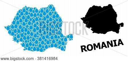 Vector Mosaic And Solid Map Of Romania. Map Of Romania Vector Mosaic For Drinking Water Ads. Map Of