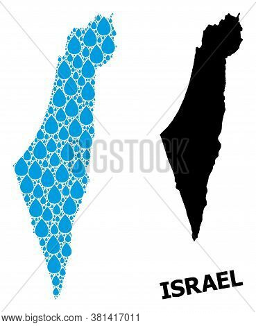 Vector Mosaic And Solid Map Of Israel. Map Of Israel Vector Mosaic For Drinking Water Ads. Map Of Is